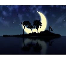 Abstract surreal tropical island silhouette and teen couple Photographic Print