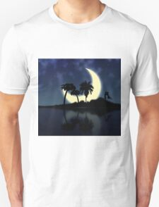 Abstract surreal tropical island silhouette and teen couple T-Shirt