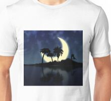 Abstract surreal tropical island silhouette and teen couple Unisex T-Shirt