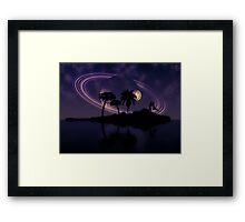 Abstract surreal tropical island silhouette and teen couple 2 Framed Print