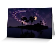 Abstract surreal tropical island silhouette and teen couple 2 Greeting Card