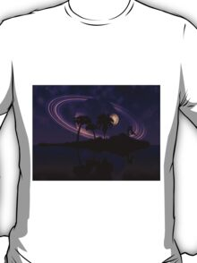 Abstract surreal tropical island silhouette and teen couple 2 T-Shirt