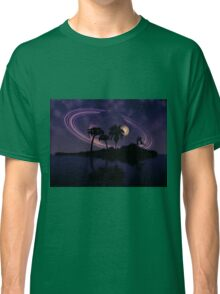 Abstract surreal tropical island silhouette and teen couple 2 Classic T-Shirt