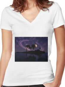 Abstract surreal tropical island silhouette and teen couple 2 Women's Fitted V-Neck T-Shirt