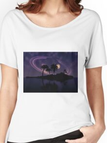 Abstract surreal tropical island silhouette and teen couple 2 Women's Relaxed Fit T-Shirt