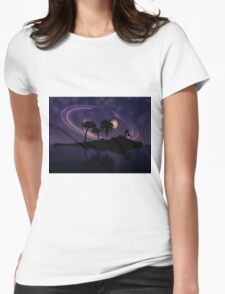 Abstract surreal tropical island silhouette and teen couple 2 Womens Fitted T-Shirt