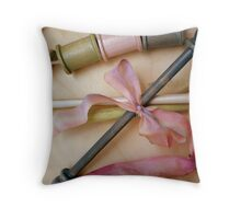 Handpainted Bobbins and Spools with Silk Ribbon Throw Pillow