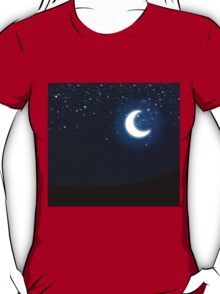 Illustration of night sky with stars and crescent moon T-Shirt