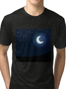 Illustration of night sky with stars and crescent moon Tri-blend T-Shirt