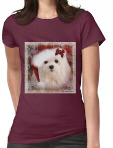 Snowdrop the Maltese at Christmas Womens Fitted T-Shirt