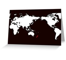 World Map New Zealand Greeting Card