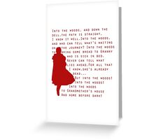 Into The Woods: Little Red Riding Hood  Greeting Card