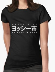 YOSHI市 White Womens Fitted T-Shirt