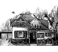 Doodle House Pen and Ink Photographic Print
