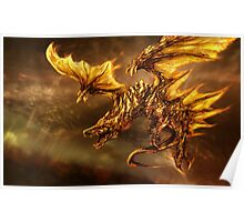 The Elder Scroll Online V Skyrim Dragon fire Poster