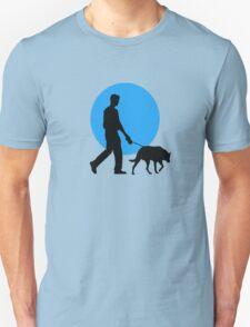 DOG WALKING MOON  T-Shirt