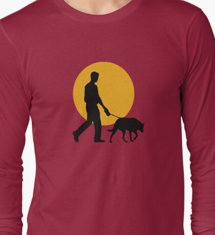 DOG WALKING SUNSET Long Sleeve T-Shirt