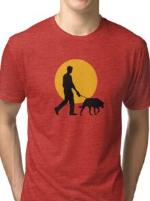 DOG WALKING SUNSET Tri-blend T-Shirt