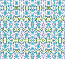 Blue, Green and White Abstract Design Pattern by Mercury McCutcheon