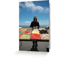 selling sweets in the cold Greeting Card