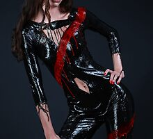 Liquid Latex Dress - black and red by Rod Meier