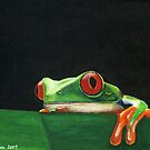 HANG IN THERE (RED-EYED TREE FROG) by Leigh Karchner