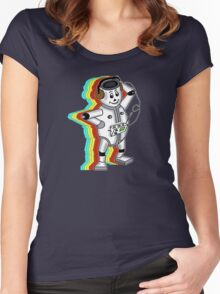 retro robot t-shirt coloured Women's Fitted Scoop T-Shirt