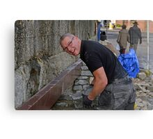 Brian the builder doing a great job at Lyme Harbour............ Canvas Print