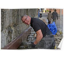 Brian the builder doing a great job at Lyme Harbour............ Poster