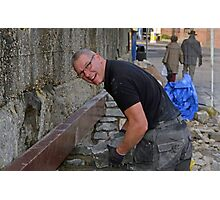 Brian the builder doing a great job at Lyme Harbour............ Photographic Print