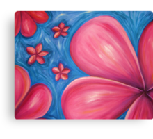 Pink floating frangipanis Canvas Print