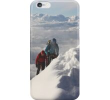 Climbing the thin ridge to the summit of Monte Rosa (4634m, Italian Alps) iPhone Case/Skin