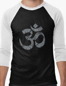 OM Yoga Spiritual Symbol in Distressed Style Men's Baseball ¾ T-Shirt