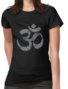 OM Yoga Spiritual Symbol in Distressed Style Womens Fitted T-Shirt