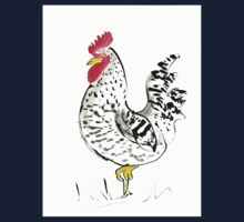 Rooster with his country charm, farm, animal, expressive, illustration One Piece - Short Sleeve