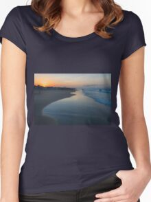 Summer sunset on a Spanish beach Women's Fitted Scoop T-Shirt