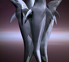 Quad Dolphindae Statue by Lisa  Weber