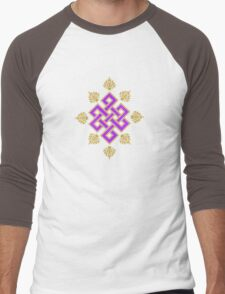 Tibet Mystical Endless Knot with Lotuses Men's Baseball ¾ T-Shirt