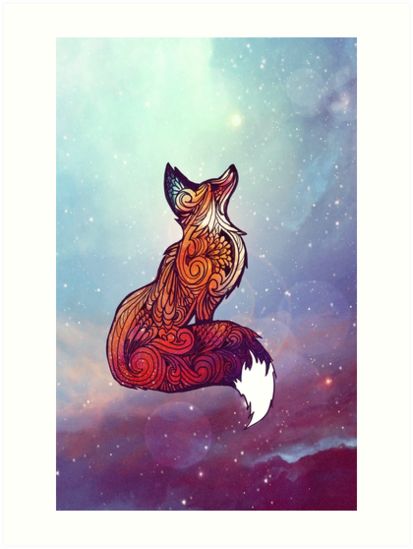 Quot Space Fox Quot Art Prints By Danielle Madrigal Redbubble