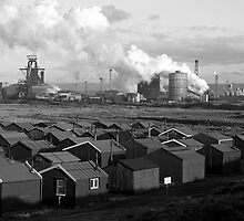 South Gare, Fishermans Huts and the Steel Works by Greig  Cowie