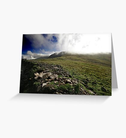 Fog rolls over the hill Greeting Card