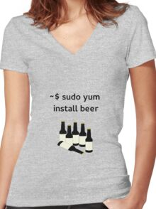 Linux sudo yum install beer Women's Fitted V-Neck T-Shirt