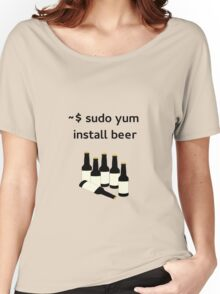 Linux sudo yum install beer Women's Relaxed Fit T-Shirt