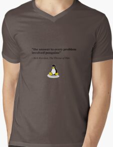 The Answer to Every Problem Involved Penguins Mens V-Neck T-Shirt