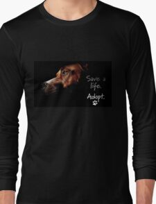 Tchoko says Please Adopt! Long Sleeve T-Shirt