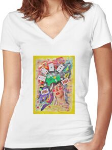 Play or gamble Women's Fitted V-Neck T-Shirt
