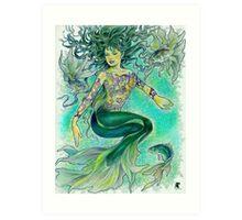 tropical fantasia - dancing mermaid Art Print