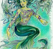 tropical fantasia - dancing mermaid by John R.P. Nyaid