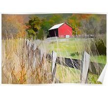 Red Barn and wooden fence Poster
