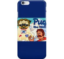 pug blue ribbon iPhone Case/Skin